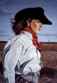 Bob Diven, painting, portrait, realistic, cowgirl, new mexico, artist, painter
