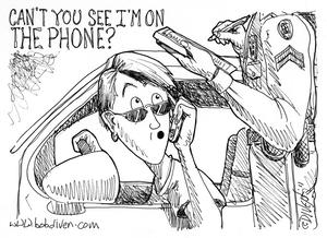 bob diven, editorial cartoon, humor, cell phones, drivers, police, opinion, nmpa award, first place, award winning cartoon, new mexico press association, the las cruces sun news