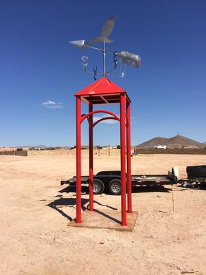 red hawk, public art, las cruces, new mexico, bob diven, artist, metro verde, golf art, humor