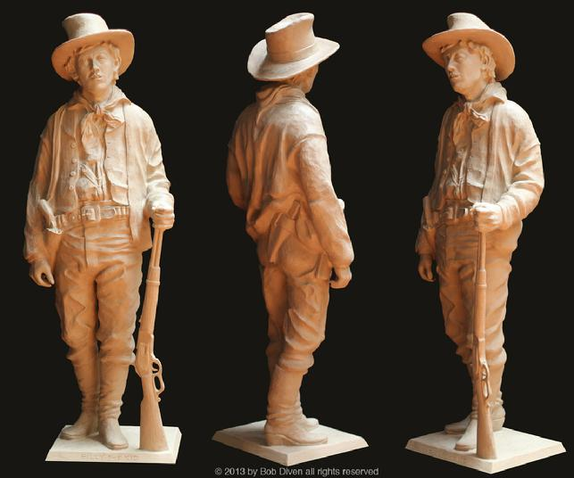 billy the kid, william bonney, outlaw, sculpture, bob diven, art, artist, life size, realistic, clay, bronze, western, art, old, west, new, mexico, las, cruces, lincoln, county, war, regulators