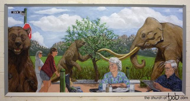 southwest environmental center, mural, pleistocene, main street, short face bear, extinct megafauna, columbian mammoth, giant ground sloth, painting, acrylic, realism, nature, evolution, bob diven